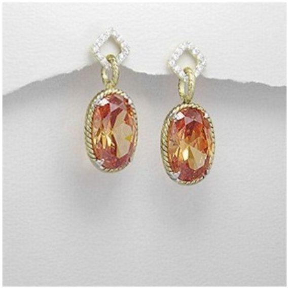 Sterling Silver Cubic Zirconia Earrings with by LenaMayJewelley