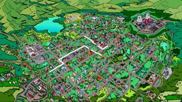 map springfield simpsons bnhspinecom