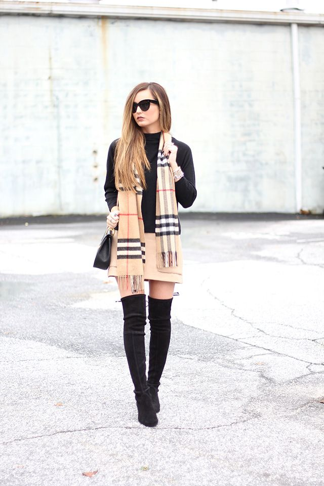 camel skirt + black sweater + Burberry plaid scarf + black boots