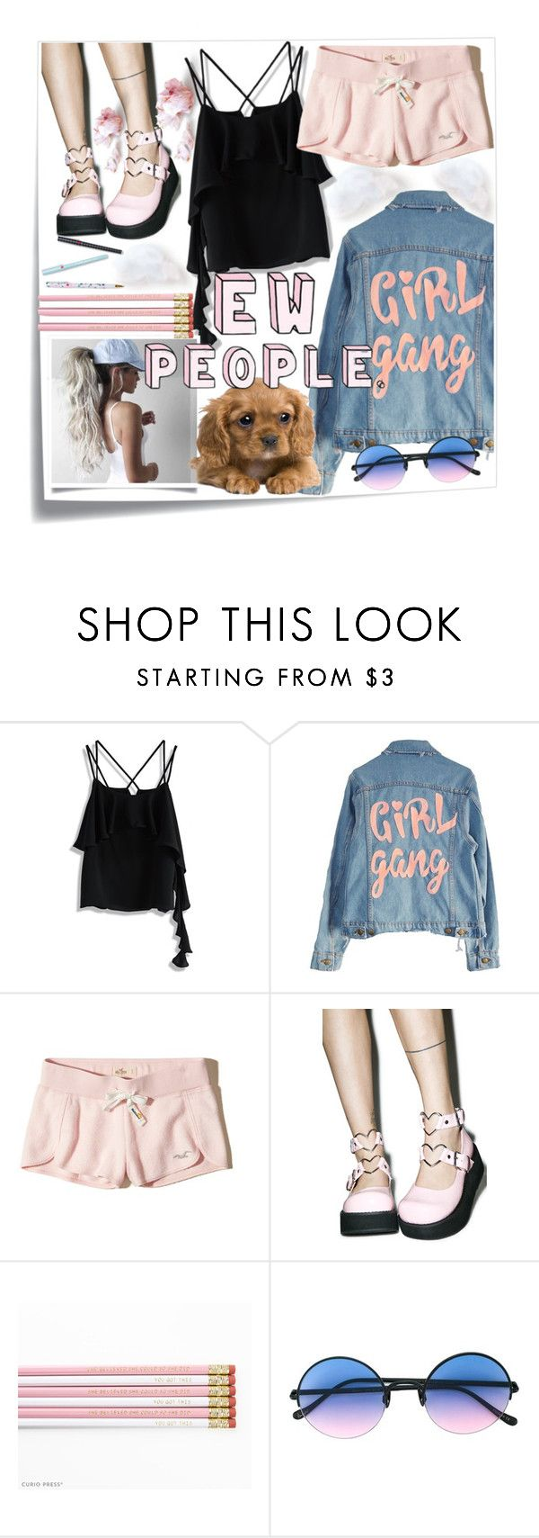 """""""#Girls gang"""" by navya-naveli ❤ liked on Polyvore featuring Post-It, Chicwish, High Heels Suicide, Hollister Co., Demonia and Sunday Somewhere"""