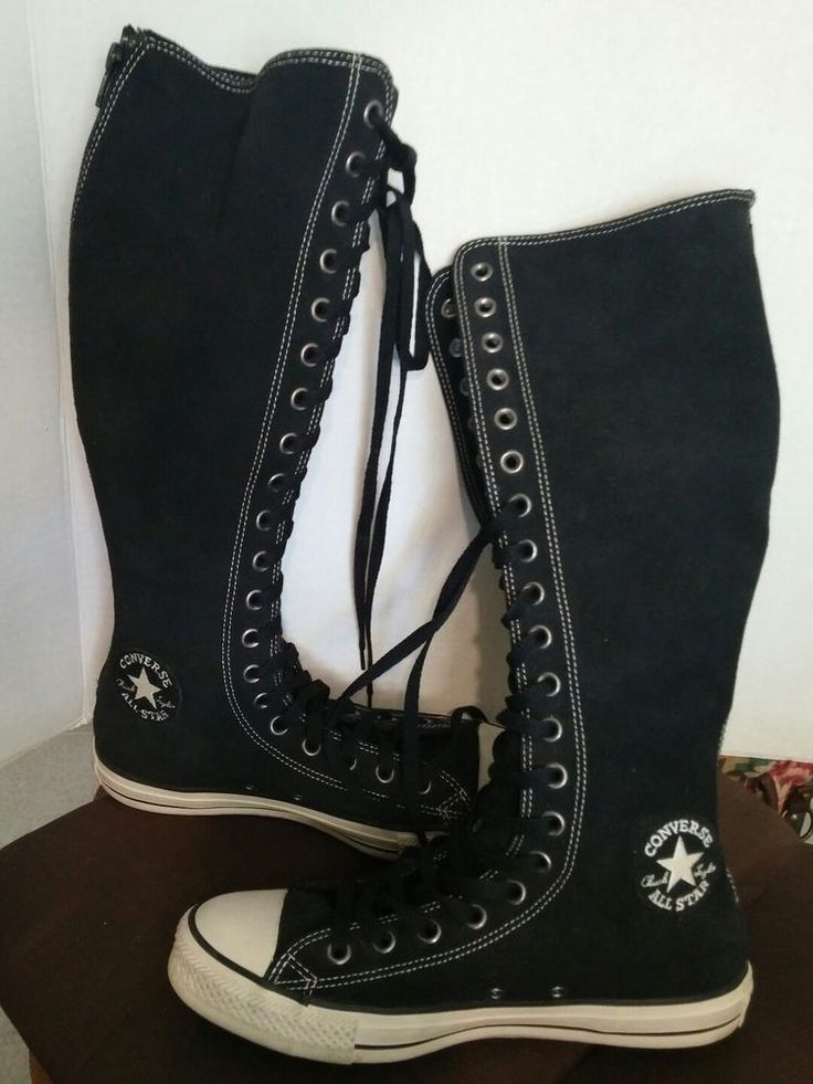 Converse Chuck Taylor Leather XX Knee Hi Boots Black Size Womens 9 Mens 7 #ChuckTaylor #Athletic
