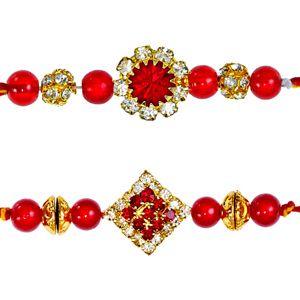 Set of 2 diamond rakhis. This splendid pair of rakhis are beautifully designed with red beads & stones and diamond studded motifs to make these rakhis elegant and glittering. Rs 632/- http://www.tajonline.com/rakhi-gifts/product/rdr81/diamond-rakhi-set-of-2/?aff=pint2014/