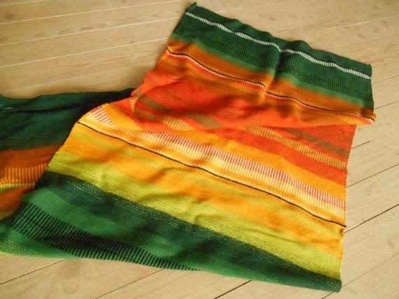 Vintage Swedish Brigt wall blanket Striped woven wall hanging Multicolored throw blanket Scandinavian blanket