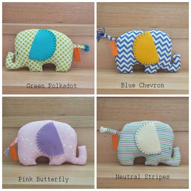 Elephants measure approximately 30 x 20cm and are soft and flat like little pillows. Each is handmade with 100% cotton fabric and acrylic felt ears. Perfect additions to a nursery, baby shower or new arrival gift.