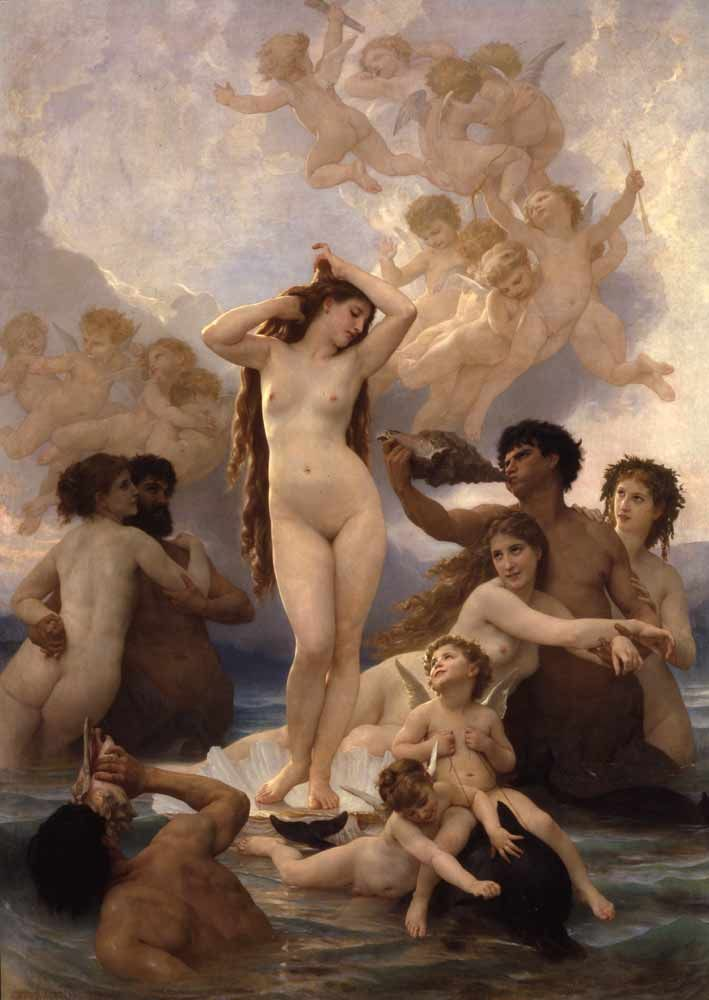 Bouguereau's Birth of Venus. This painting is huge and so luminescent, photographs cant capture its beauty.