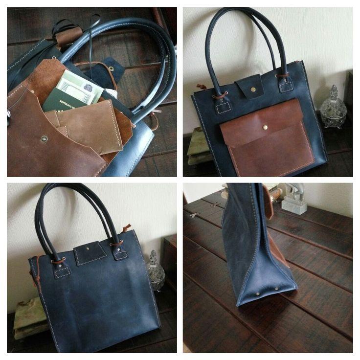 Leather bag. Leather craft. Crazy horse. Navy blue. Ukrainehandmade