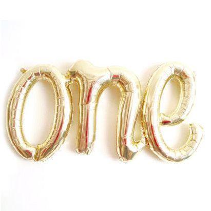 One script white gold mylar balloon - 30 inches