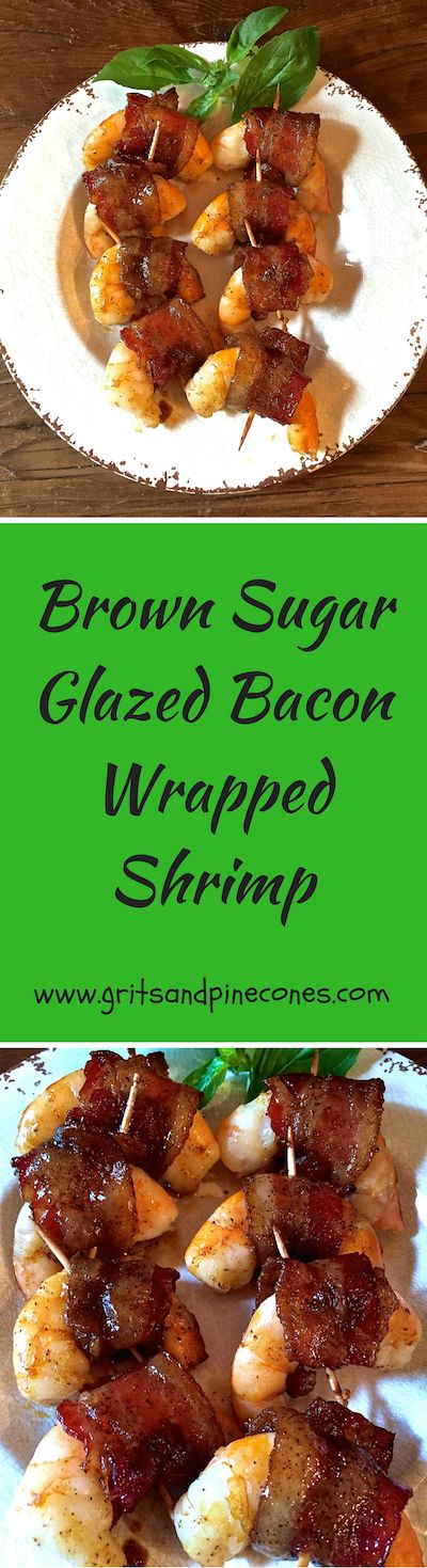 Check out these delicious and easy Brown Sugar Glazed Bacon Wrapped Shrimp. Whether you are looking for an appetizer for a party, finger food, or simply want to serve shrimp for dinner, these salty/sweet bacon wrapped shrimp are perfect!  via @gritspinecones/