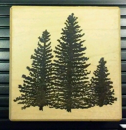 Wood Mounted Rubber Stamp. 3 PINE CHRISTMAS TRESS by Golden Rule Supply. NICE!  #GoldenRuleSupply #RubberStamps