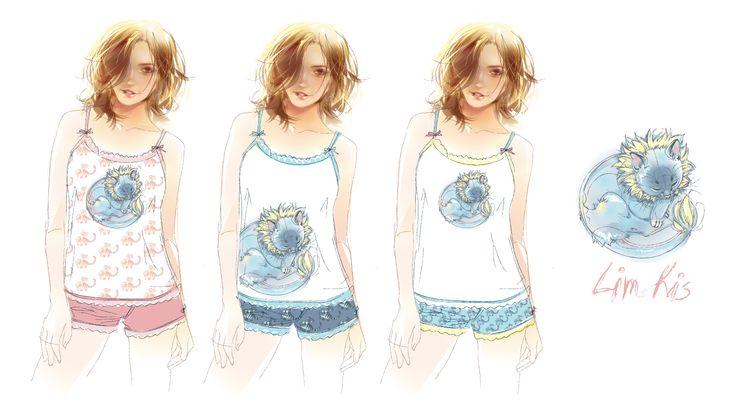 idea \ sketch. Pajamas for girls and women. program - Adobe Illustrator CS 17.1