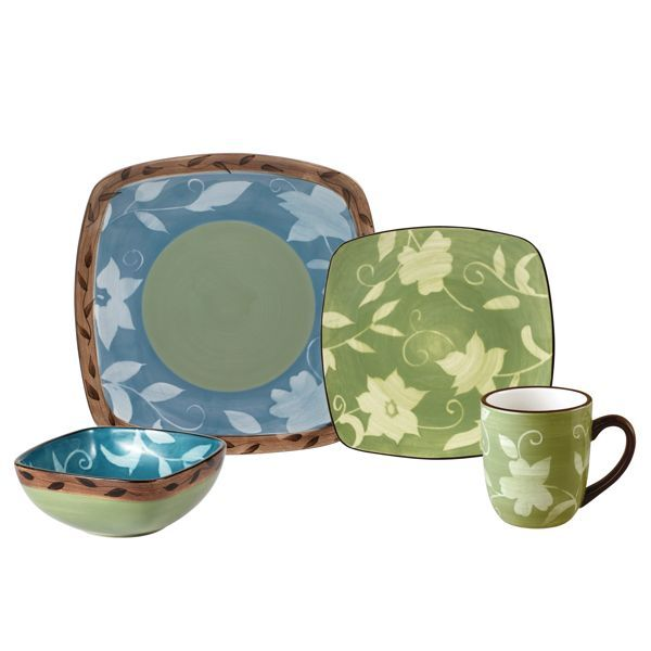 Pfaltzgraff Patio Garden Square Dinnerware Set, 32 Piece, Service For 8