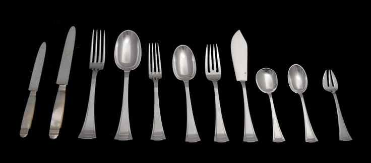 Art Deco Sterling Silver Flatware Set By Savary - Circa 1910