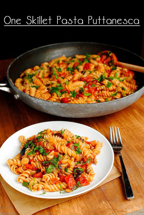 One Skillet Pasta Puttanesca. Salty, spicy, and cooked in just one skillet! #dinner: Salty, Dinner, Food, One Skillet Pasta Puttanesca, Skillets, Cooking, Yummy, Skilletpastaputtanesca Main