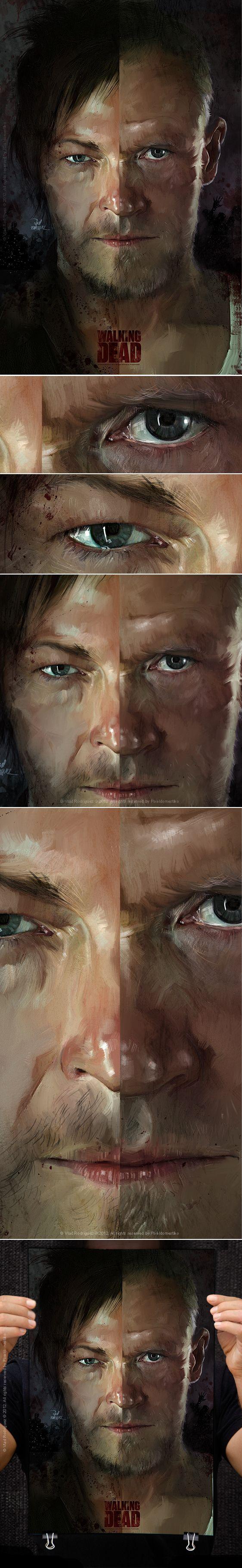 The Walking Dead ( Merle & Daryl Dixon) by Vlad Rodriguez, via Behance