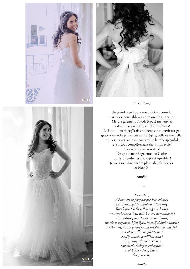 Aurélie, dans sa version montée en robe, de la jupe BALLERINE et du bustier ANGE. Aurélie, in her version sewn as a gown, of the skirt BALLERINE and bustier ANGE.