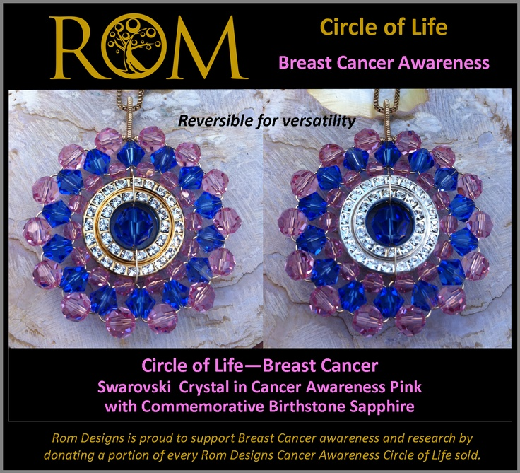Inspired by my own breast cancer journey I designed this Circle of Life to provide you with a dazzling way to commemorate your loved one.  This Circle of Life is entwined with Swarovski crystal in Cancer Pink and the Birthstone crystal Sapphire.  The bail is large enough to change the chain to suit your outfit.  The pendant can be worn either side having gold on one side and silver on the other.  To all my fellow cancer fighters; never give up the fight!  AUD$200