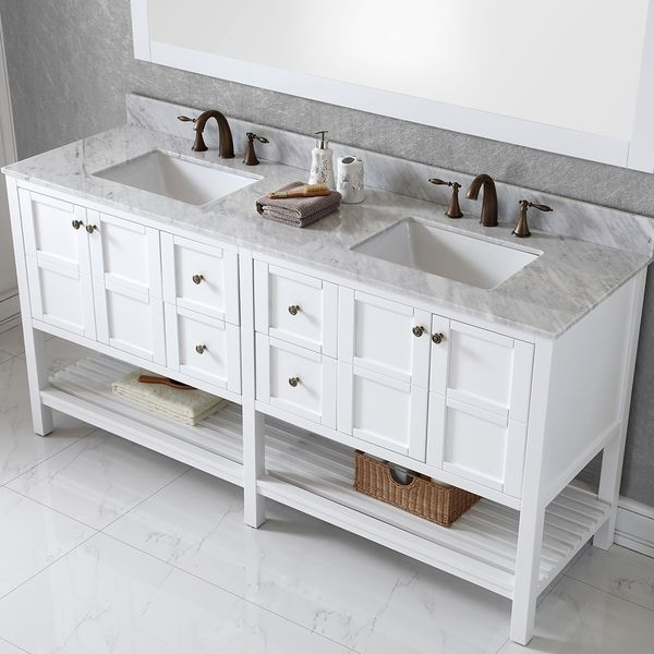 Virtu Usa Winterfell 72 Inch Double Sink White Vanity With Carrara White Marble Countertop With