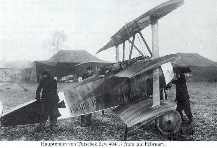 Fokker Dr1  Haumptmann Adolf von Tutschek in the cockpit of Fok. Dr.I 404/17 at Toulis, late February 1918.