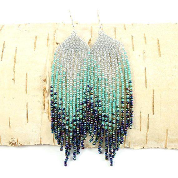 Beaded long earrings Dangle earrings Southwestern earrings