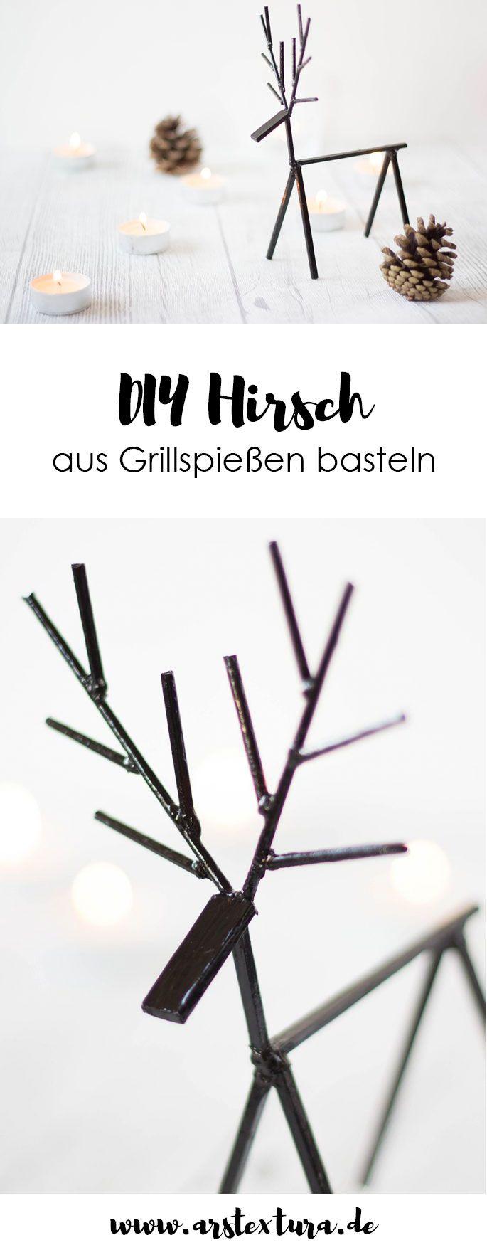 Herbst Deko: DIY Hirsch aus Grillspießen basteln
