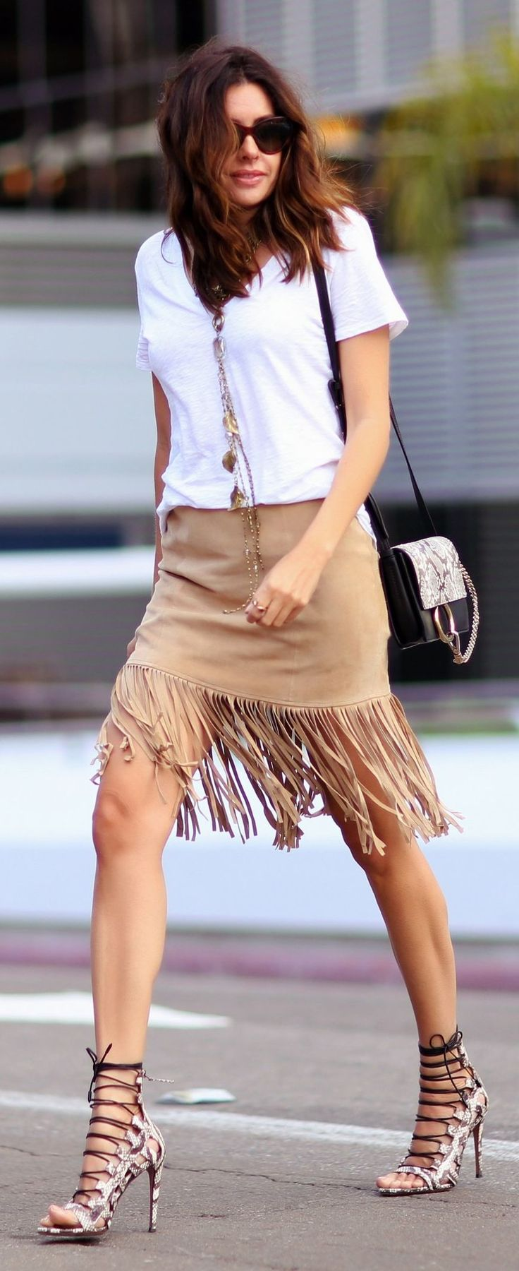 Fringed Suede Skirt Streetstyle