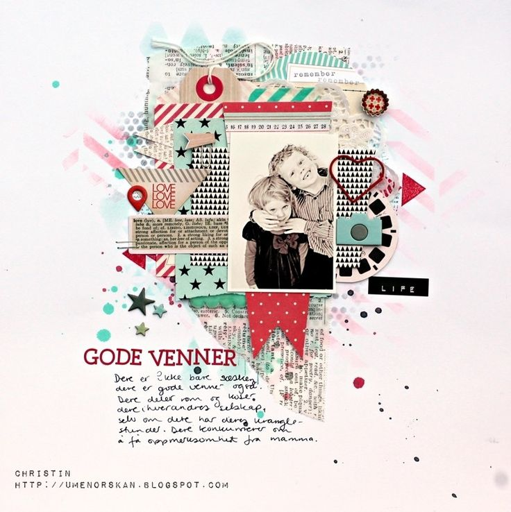 love the layers of this scrapbook page. Christin aka Umenorskan scrapper