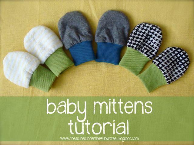 Baby Handschuhe / Fäustlinge gegen Kälte oder Kratzen nähen