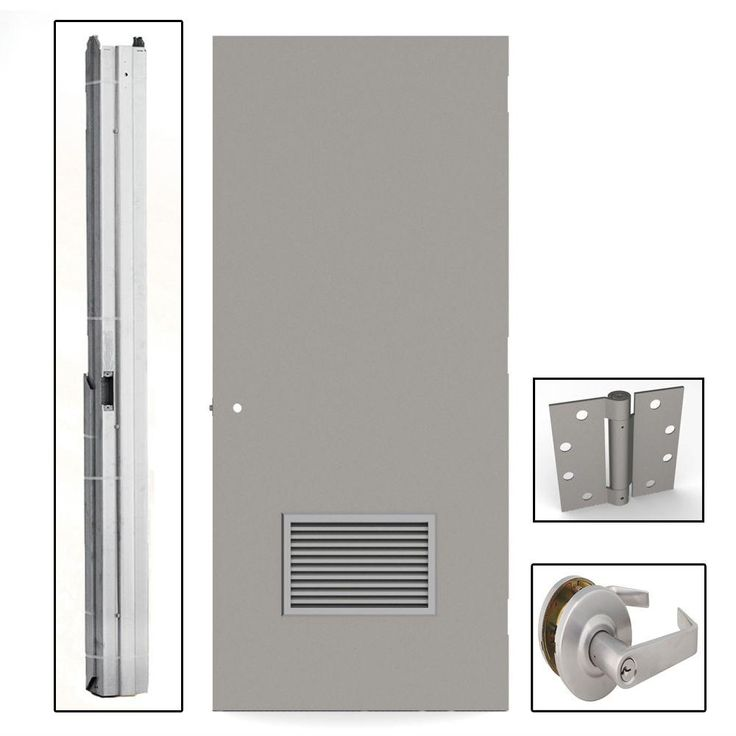 36 In X 84 In Flush Gray Steel Louvered Commercial Door