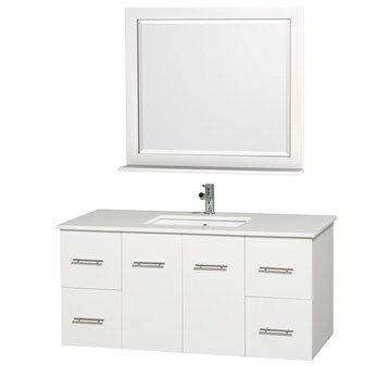 """Centra 48"""" Single Bathroom Vanity Set by Wyndham Collection - White"""