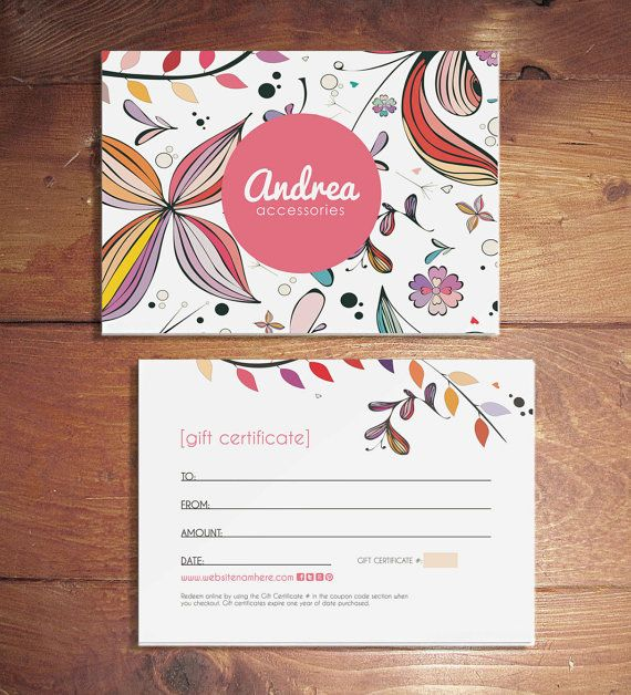 Andrea double sided gift certificate design - Instant download
