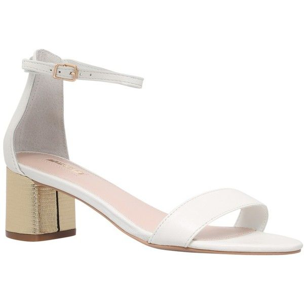 Carvela Kandle Block Heeled Sandals, White Leather ($53) ❤ liked on Polyvore featuring shoes, sandals, white leather, strappy flat sandals, leather strap sandals, mid-heel sandals, strappy sandals and mid heel sandals