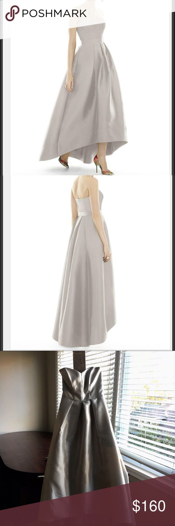 Gorgeous Alfred Sung Hi-Low Dress in Oyster Worn once! This oyster colored designer hi-low dress is perfect for a wedding, event or any dressy occasion. It has a gorgeous shape and fit. Open to answer any questions and returns. Original link: https://dessy.com/dresses/bridesmaid/d699/#.WAgq_IY8KEc Alfred Sung Dresses High Low