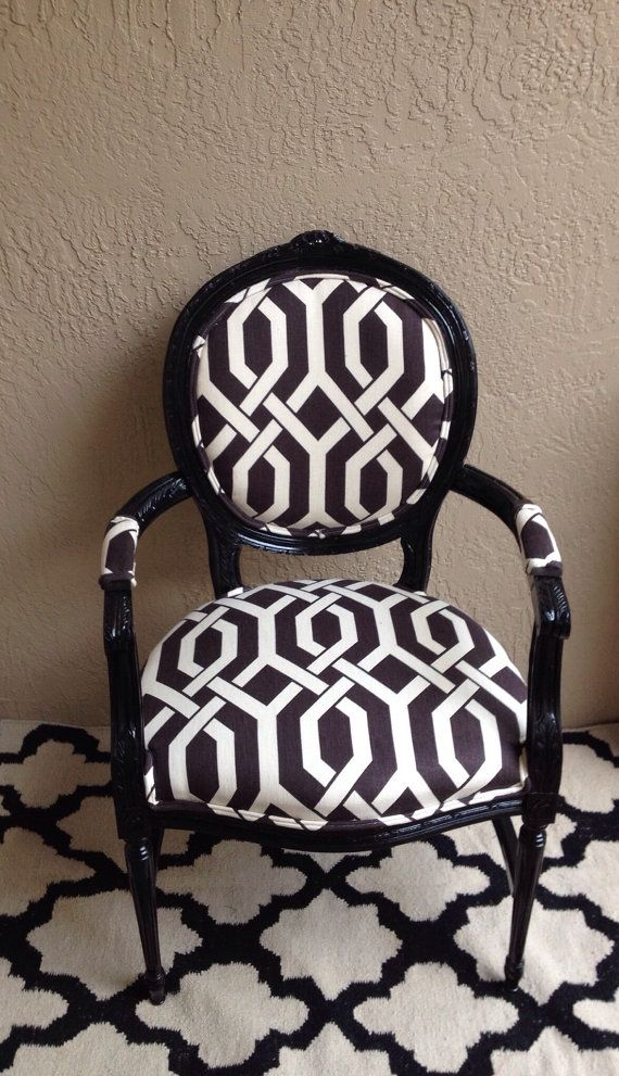 Louis Xvi Arm Chair Black Upholstered Dining Desk Trellis Fabric Graphic Accent Side On