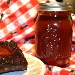 Lots of good stuff go into this terrific sauce: brown sugar, ketchup, liquid smoke, Worcestershire, hot pepper sauce, a few other yummy ingredients and almost one cup of whiskey. The ribs won't know what hit them.