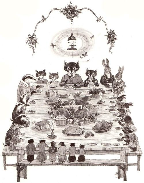 Thanksgiving Dinner, woodland animals - can't find source to credit artist