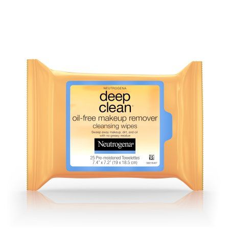 Neutrogena Deep Clean Oil-Free Makeup Remover Cleansing Face Wipes, 25 Count, Multicolor
