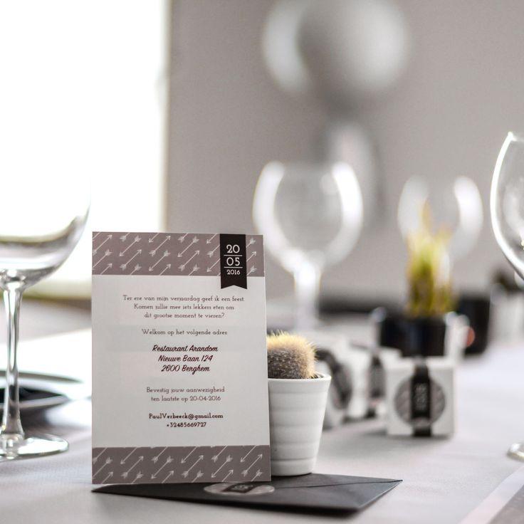 Vier feest met deze rustieke uitnodigingen vol pijltjes! #rustiek #pijlen #invitations #beaublue