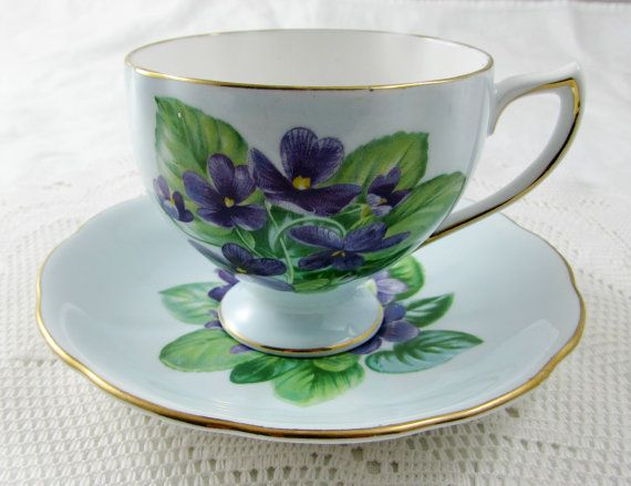 Royal Vale Blue Tea Cup and Saucer with Purple by TheAcreage