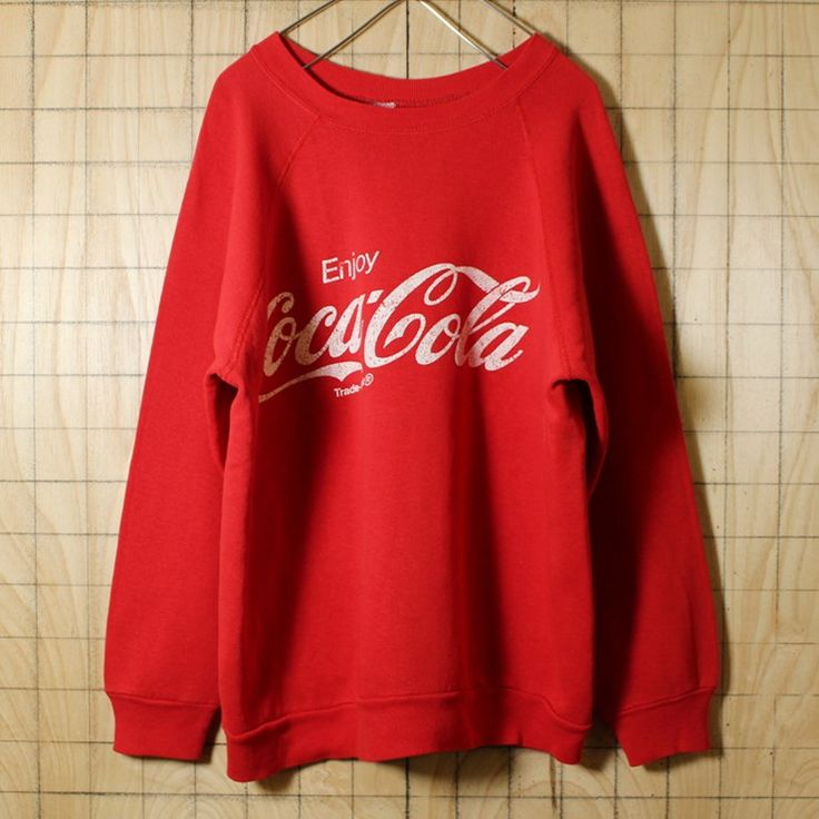 Coca Cola/USA製80s古着/レッド/プリントスウェット・トレーナー/メンズM相当