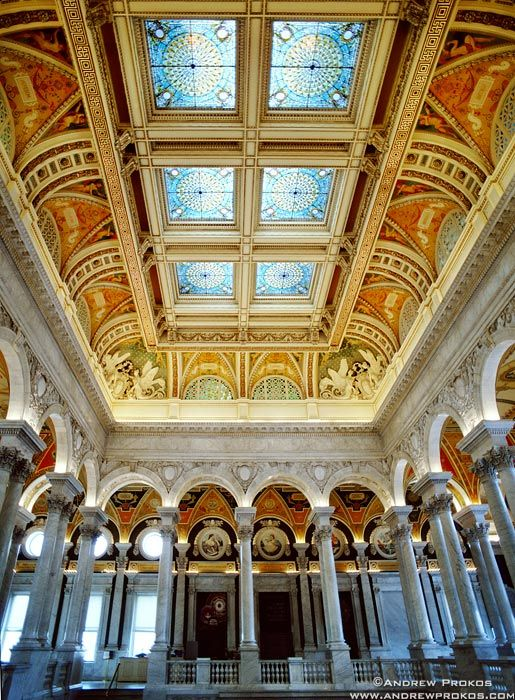 Library of Congress Great Hall Interior with Stained Glass Ceiling - Photos of the Library of Congress