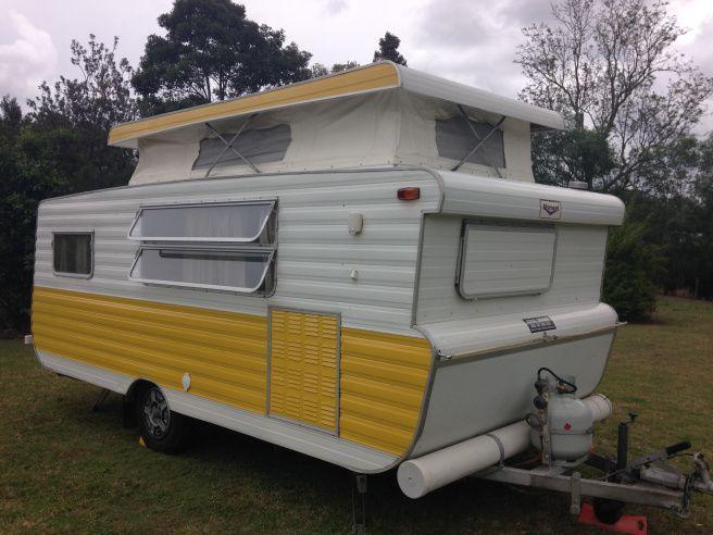 Original retro 1978 15ft Viscount Supreme pop-top caravan (camper) in yellow colour scheme.