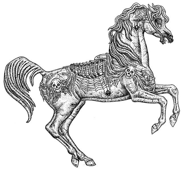 cryptic scary carousel horse