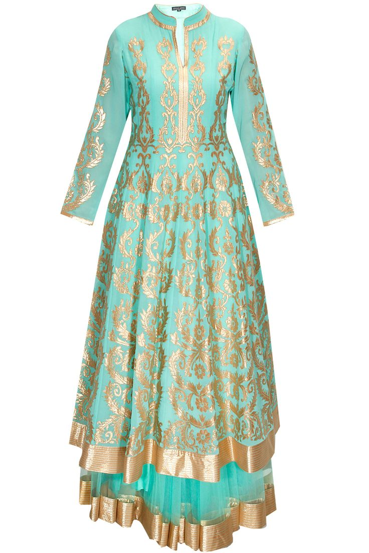 Aqua blue floral embroidered lehenga set available only at Pernia's Pop-Up Shop.