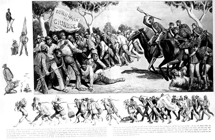 Fighting continued . This lithograph from the 1850's shows mounted police attacking the Chinese on the goldfields .