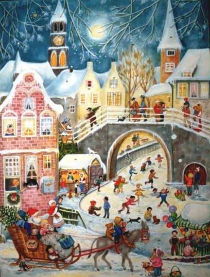 Santa Sleigh Ride German Christmas Advent Calendar...I so remember these when I was a kid growing up in Germany!