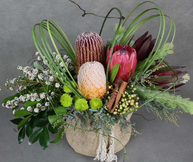Australian flowers in a trendy hessian container