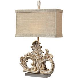 """Just looks cool  Product: Table lamp   Construction Material: Composite and fabric      Color: Bronze   Features: Ornately designed base  Accommodates: (1) 60 Watt medium base bulb - not included  Dimensions: 26"""" H x 15"""" W x 7"""" D"""