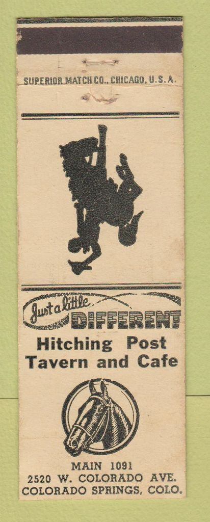 Matchbook Cover - Hitching Post Tavern Cafe at 2520 W. Colorado Ave West of Colorado Springs, CO