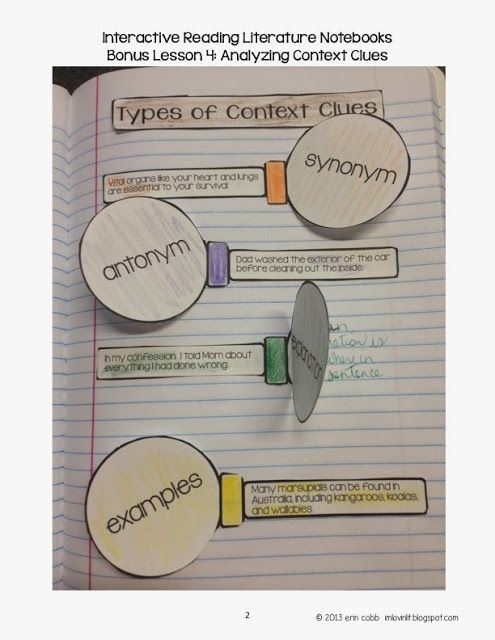 FREE Context Clues Interactive Notebook Lesson!