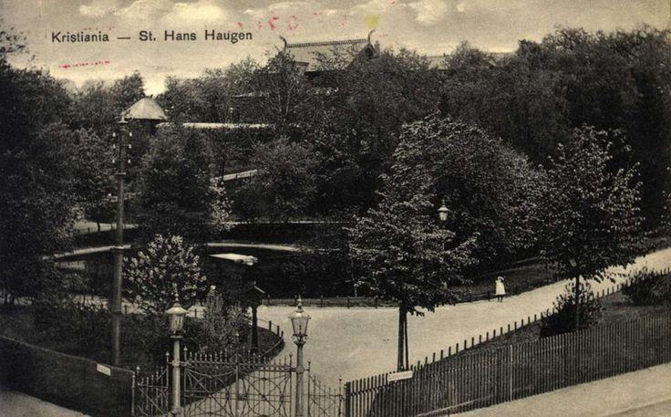 Kristiania, St. Hanshaugen. Inngangsport til parken i forgrunnen. Gangveier fører opp til et hus i dragestil i bakgrunnen. Stemplet 24.12.1903.
